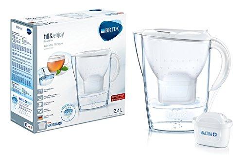 BRITA Marella - Caraffa filtrante per acqua, bianca, 1 filtro MAXTRA