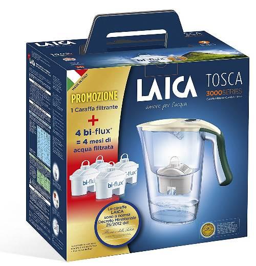 Laica Kit J9059 Caraffa filtrante per il trattamento dell'acqua Carmen Tosca con 4 Filtri Bi-flux