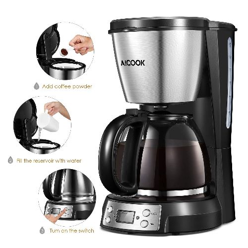 Aicook Macchina per Caffe, Macchina per Caffe Americano, Macchina Caffe Programmabile in Acciaio Inox, con Display LED