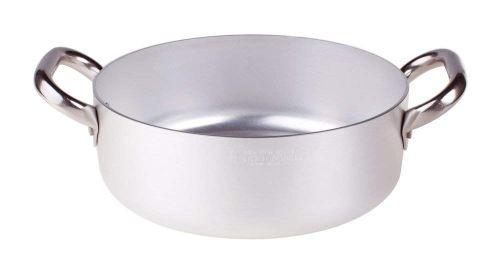 Pentole Agnelli ALMA10622 Alluminio Professionale 3 mm, Casseruola Bassa con 2 Maniglie, 3,4 L