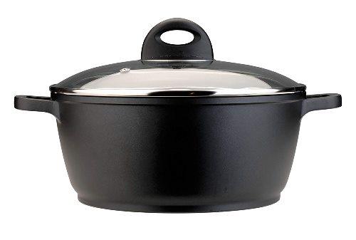 BergHOFF pentola antiaderente piccola casseruola con coperchio in vetro, nero, 24 cm, 3.3 litri